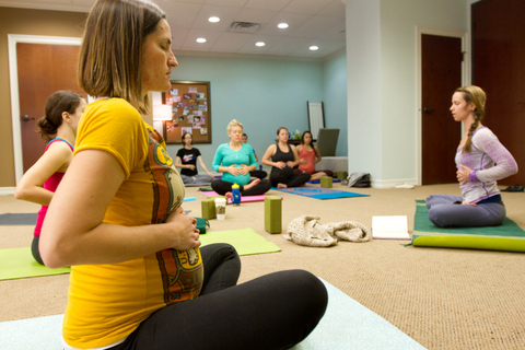 Image of a Prenatal Yoga Class in Session at Austin Birthing Center